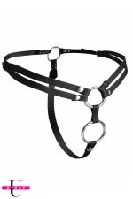 Harnais double pénétration Unity : Harnais gode-ceinture ajustable spécial double pénétration, Vegan friendly, par XR Brands.