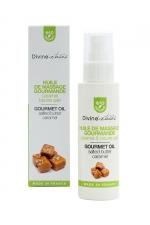 Huile de massage gourmande BIO Caramel - Divinextases : Huile de massage gourmande caramel beurre salé 100% bio, fabriquée en France par Divinextases.