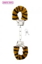 Menottes fourrure Shots - tigre : Paire de menottes fantaisie qui ferment comme des vraies pour jouer à s'attacher. En métal et fausse fourrure imprimée tigre.